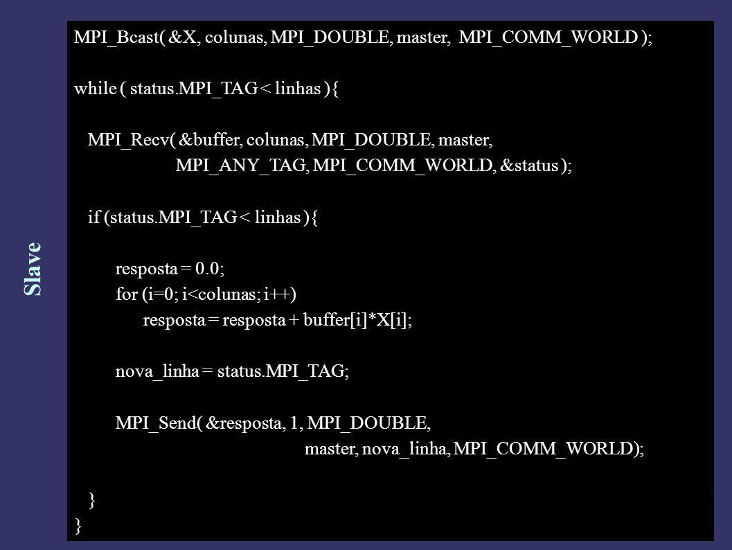 Slave MPI_Bcast( &X, colunas, MPI_DOUBLE, master, MPI_COMM_WORLD ); while ( status.MPI_TAG < linhas ){ MPI_Recv( &buffer, colunas, MPI_DOUBLE, master, MPI_ANY_TAG, MPI_COMM_WORLD, &status ); if (status.MPI_TAG < linhas ){ resposta = 0.0; for (i=0; i<colunas; i++) resposta = resposta + buffer[i]*X[i]; nova_linha = status.MPI_TAG; MPI_Send( &resposta, 1, MPI_DOUBLE, master, nova_linha, MPI_COMM_WORLD); }