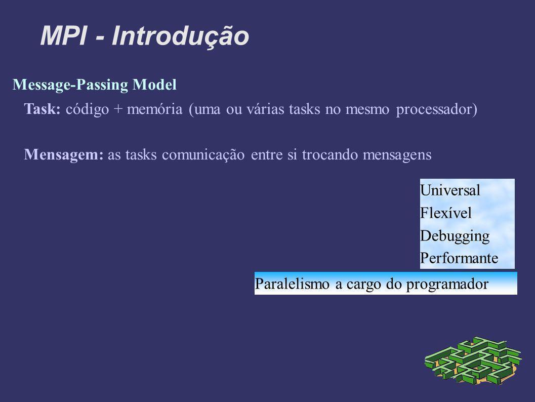 MPI - Introdução Message-Passing Model Task: código + memória (uma ou várias tasks no mesmo processador) Mensagem: as tasks comunicação entre si trocando mensagens Universal Flexível Debugging Performante Paralelismo a cargo do programador