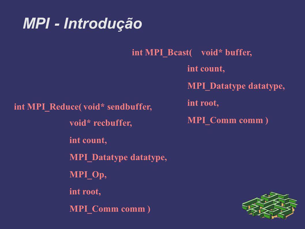 MPI - Introdução int MPI_Bcast( void* buffer, int count, MPI_Datatype datatype, int root, MPI_Comm comm ) int MPI_Reduce(void* sendbuffer, void* recbuffer, int count, MPI_Datatype datatype, MPI_Op, int root, MPI_Comm comm )