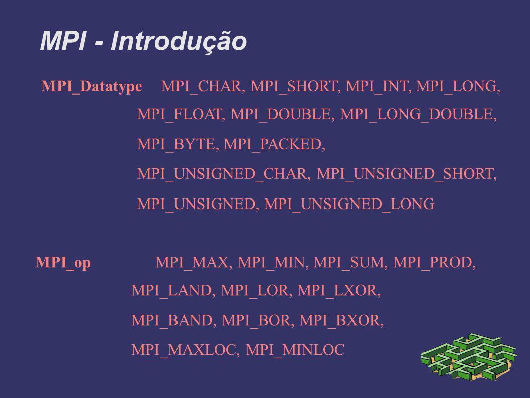 MPI - Introdução MPI_DatatypeMPI_CHAR, MPI_SHORT, MPI_INT, MPI_LONG, MPI_FLOAT, MPI_DOUBLE, MPI_LONG_DOUBLE, MPI_BYTE, MPI_PACKED, MPI_UNSIGNED_CHAR, MPI_UNSIGNED_SHORT, MPI_UNSIGNED, MPI_UNSIGNED_LONG MPI_opMPI_MAX, MPI_MIN, MPI_SUM, MPI_PROD, MPI_LAND, MPI_LOR, MPI_LXOR, MPI_BAND, MPI_BOR, MPI_BXOR, MPI_MAXLOC, MPI_MINLOC