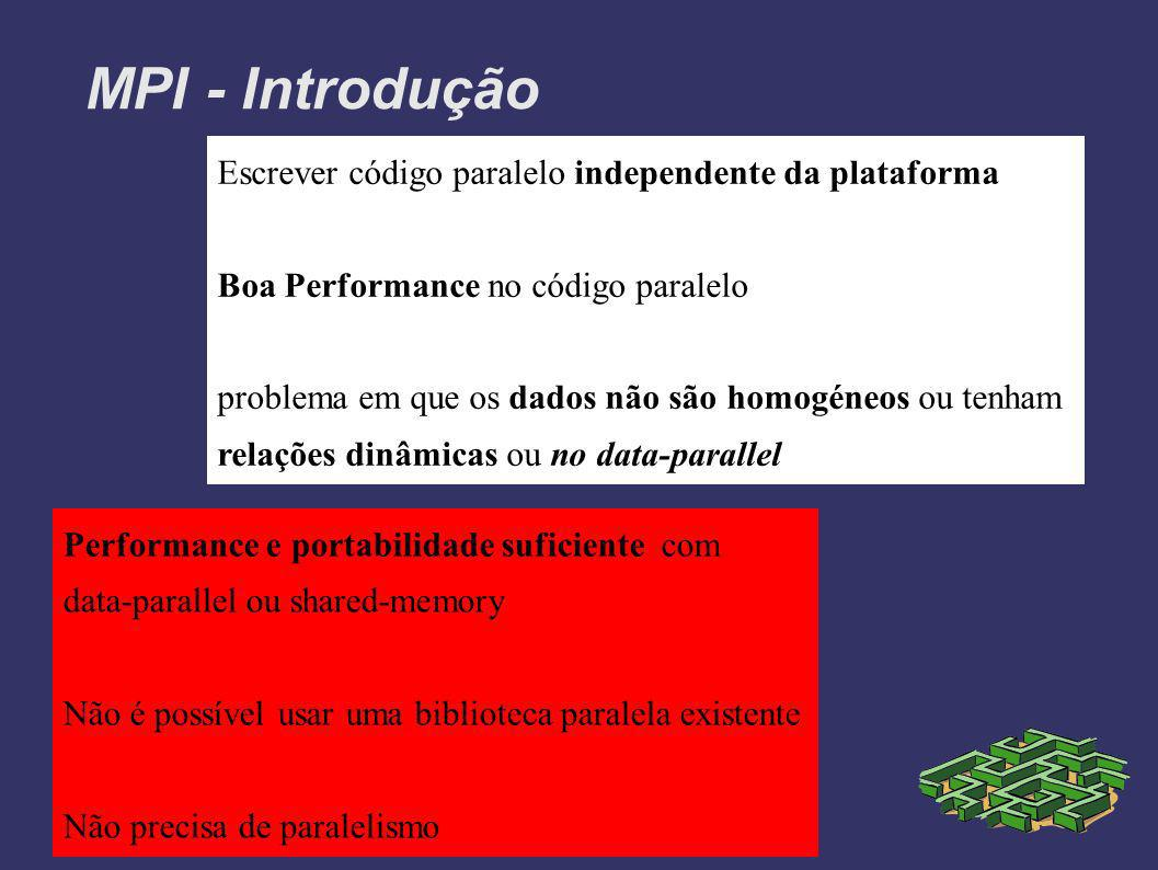 MPI - Introdução Escrever código paralelo independente da plataforma Boa Performance no código paralelo problema em que os dados não são homogéneos ou tenham relações dinâmicas ou no data-parallel Performance e portabilidade suficiente com data-parallel ou shared-memory Não é possível usar uma biblioteca paralela existente Não precisa de paralelismo