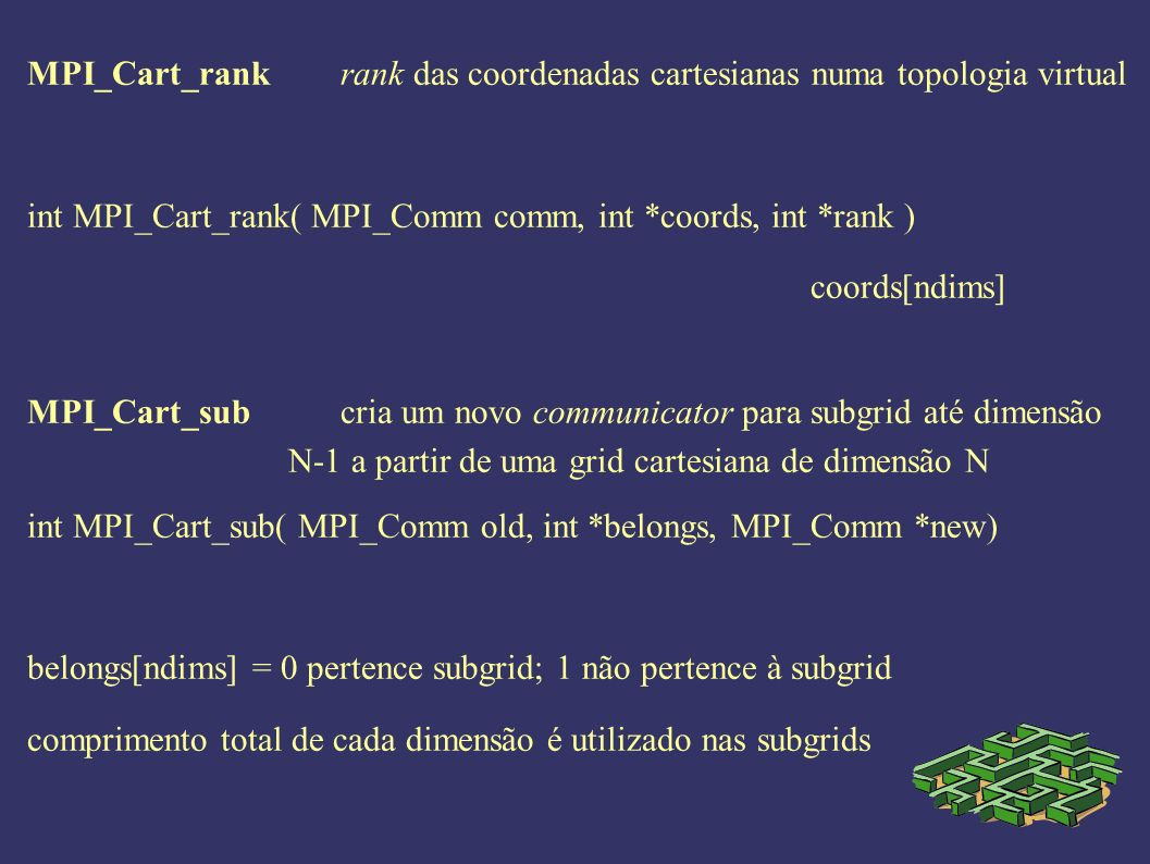 MPI_Cart_rankrank das coordenadas cartesianas numa topologia virtual int MPI_Cart_rank( MPI_Comm comm, int *coords, int *rank ) coords[ndims] MPI_Cart