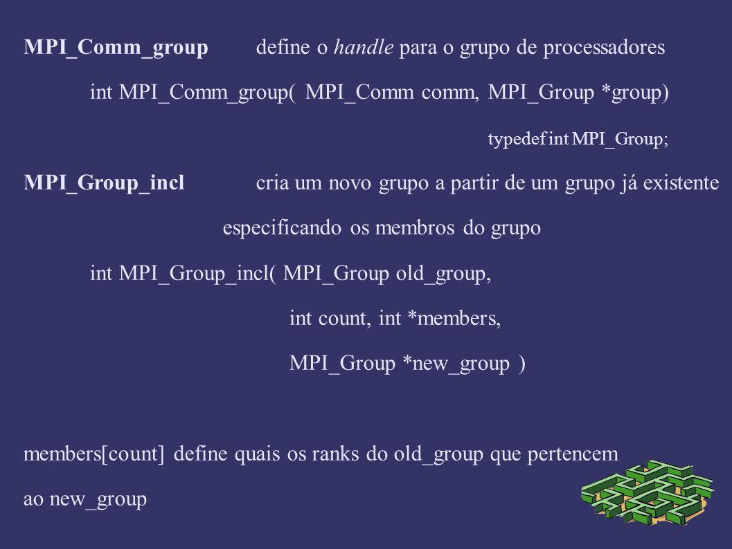 MPI_Group_exclcria um novo grupo a partir de um grupo já existente excluindo ranks int MPI_Group_excl( MPI_Group group, int count, int *nonmembers, MPI_Group *new_group ) nonmembers[count] define quais os ranks do group que são excluídos