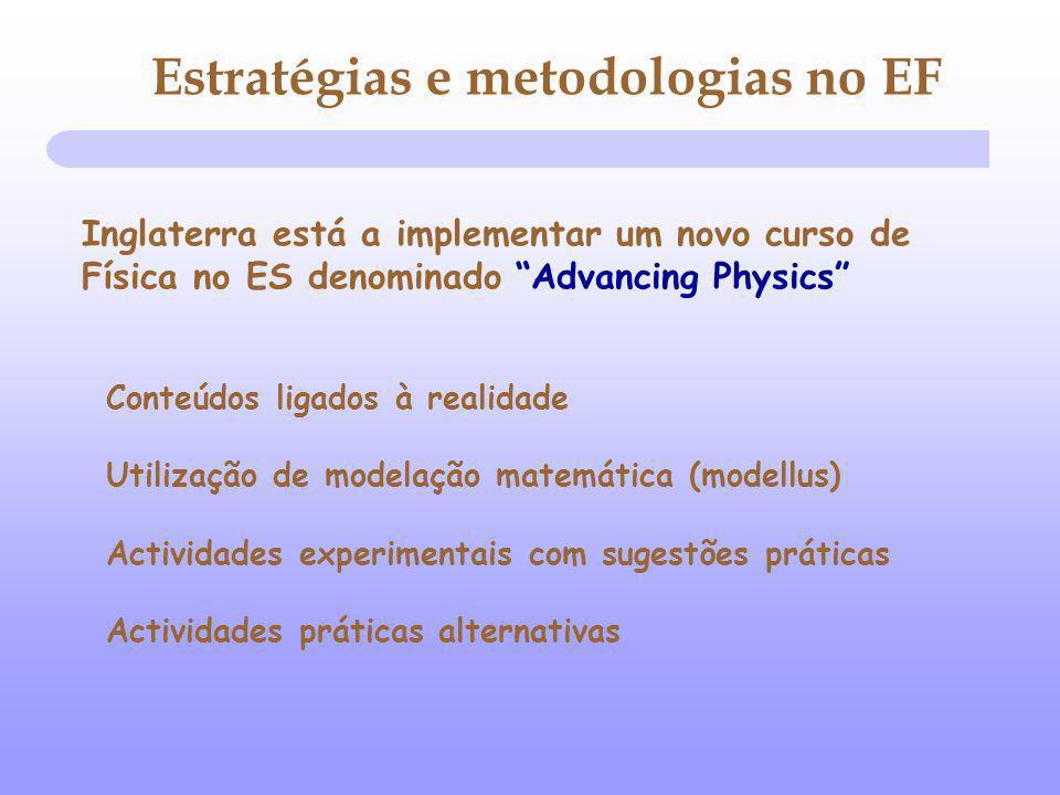 Inglaterra está a implementar um novo curso de Física no ES denominado Advancing Physics Conteúdos ligados à realidade Utilização de modelação matemát