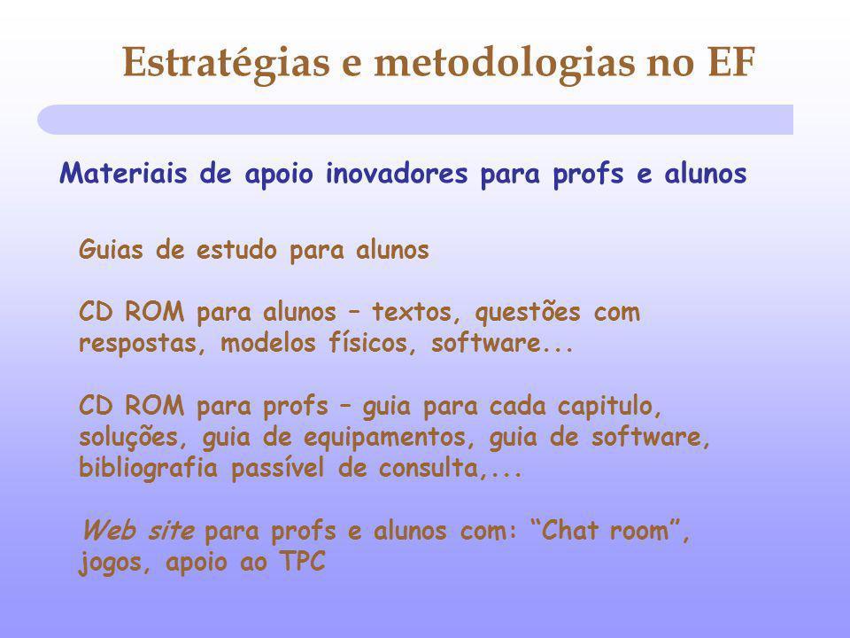 Estratégias e metodologias no EF Guias de estudo para alunos CD ROM para alunos – textos, questões com respostas, modelos físicos, software... CD ROM