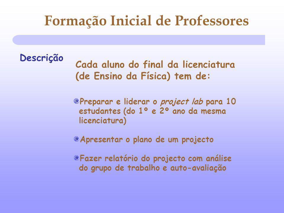 Formação Inicial de Professores Descrição Preparar e liderar o project lab para 10 estudantes (do 1º e 2º ano da mesma licenciatura) Apresentar o plan