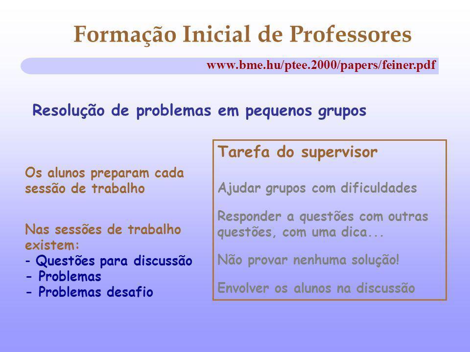 Formação Inicial de Professores Resolução de problemas em pequenos grupos www.bme.hu/ptee.2000/papers/feiner.pdf Os alunos preparam cada sessão de tra