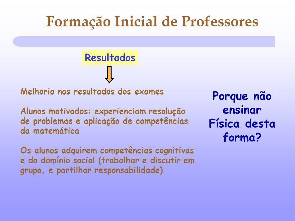 Resultados Melhoria nos resultados dos exames Alunos motivados: experienciam resolução de problemas e aplicação de competências da matemática Os aluno