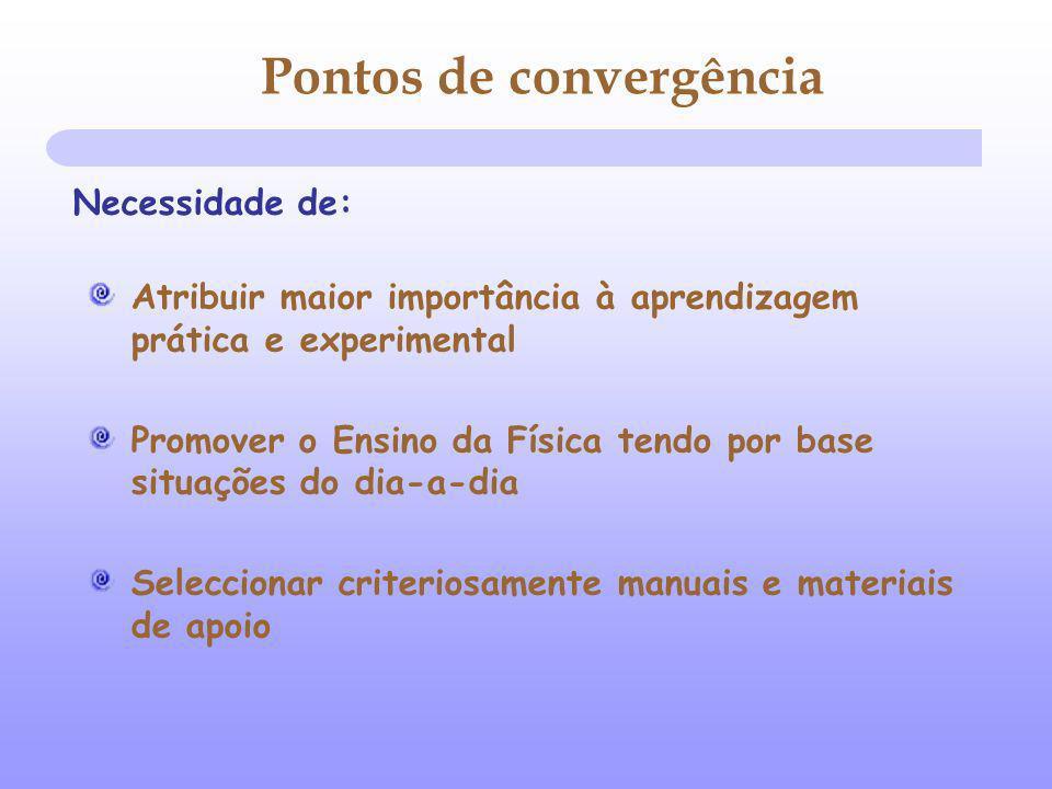 Atribuir maior importância à aprendizagem prática e experimental Promover o Ensino da Física tendo por base situações do dia-a-dia Seleccionar criteriosamente manuais e materiais de apoio Pontos de convergência Necessidade de: