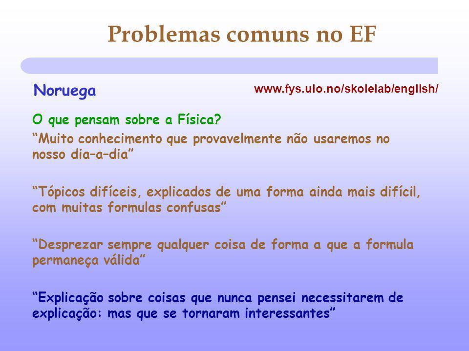 Problemas comuns no EF O que pensam sobre a Física.