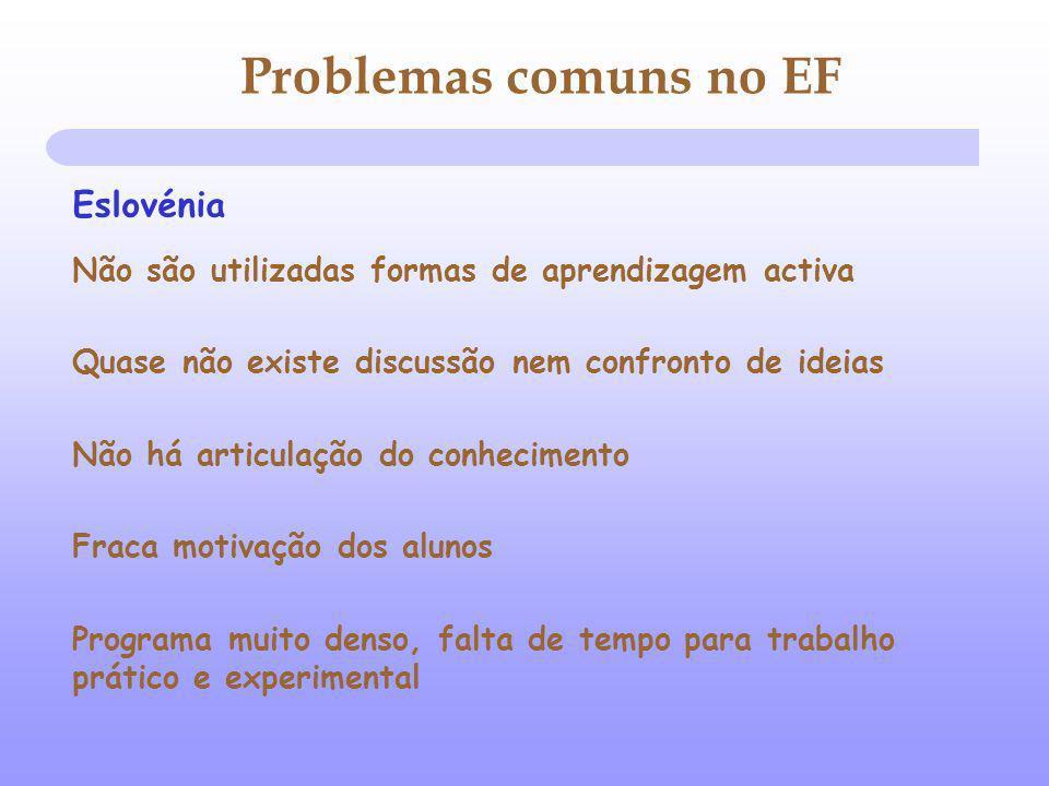 Problemas comuns no EF Não são utilizadas formas de aprendizagem activa Quase não existe discussão nem confronto de ideias Não há articulação do conhe