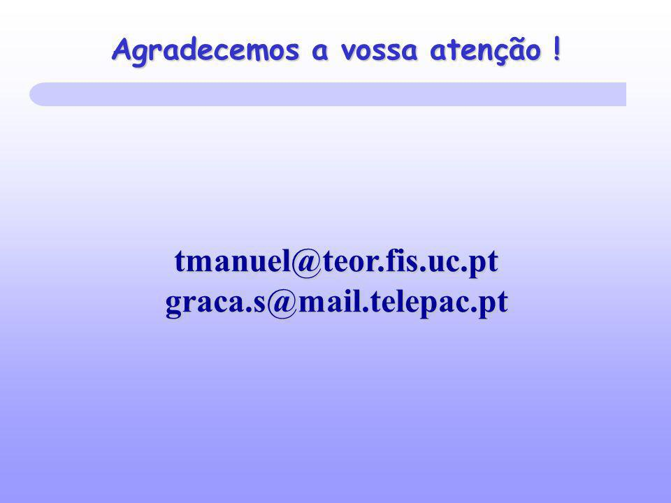 Agradecemos a vossa atenção ! tmanuel@teor.fis.uc.pt graca.s@mail.telepac.pt