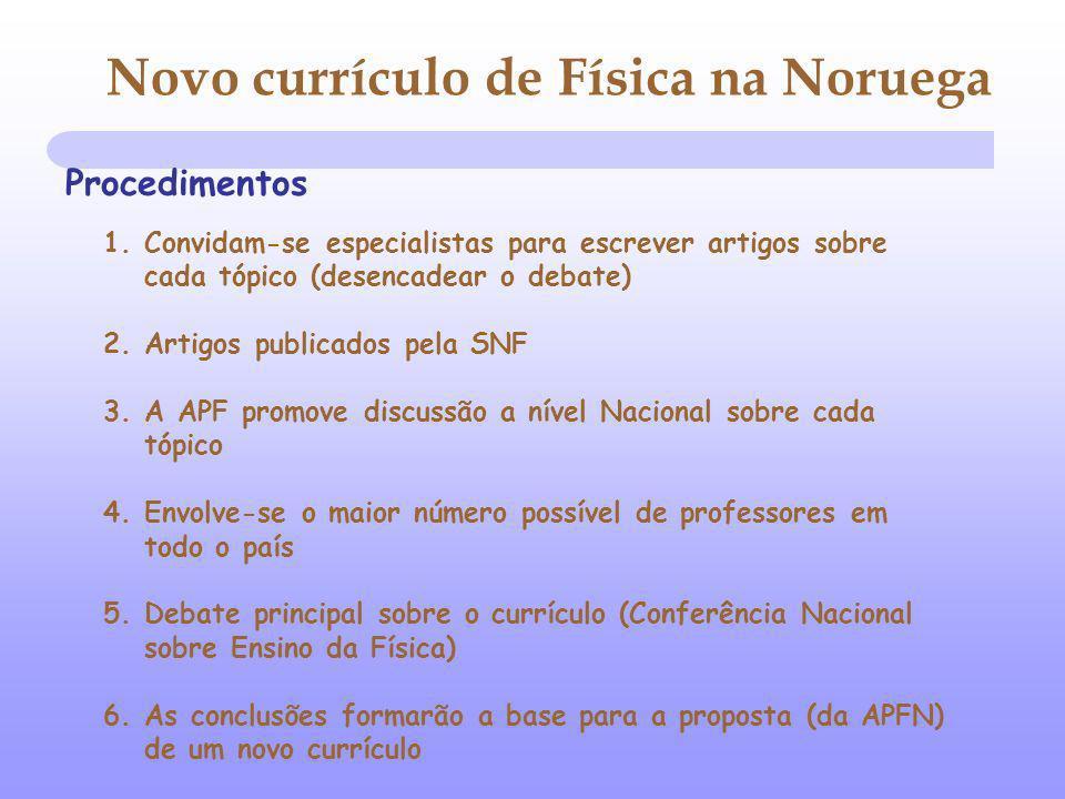 Procedimentos 1. Convidam-se especialistas para escrever artigos sobre cada tópico (desencadear o debate) 2. Artigos publicados pela SNF 3. A APF prom