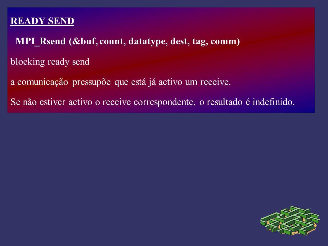 READY SEND MPI_Rsend (&buf, count, datatype, dest, tag, comm) blocking ready send a comunicação pressupõe que está já activo um receive. Se não estive