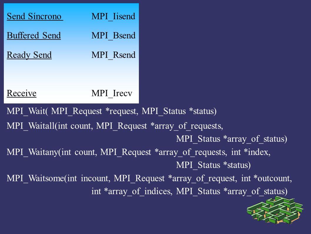 MPI_Test( MPI_Request *request, int *flag, MPI_Status *status) MPI_Testall( int count, MPI_Request *array_of_requests, int * flag, MPI_Status *array_of_statuses ) MPI_Testany( int count, MPI_Request *array_of_requests, int *index int *flag, MPI_Status *status) MPI_Testsome( int incount, MPI_Request *array_of_requests, int *outcount, int *array_of_indices, MPI_Status *array_of_status )