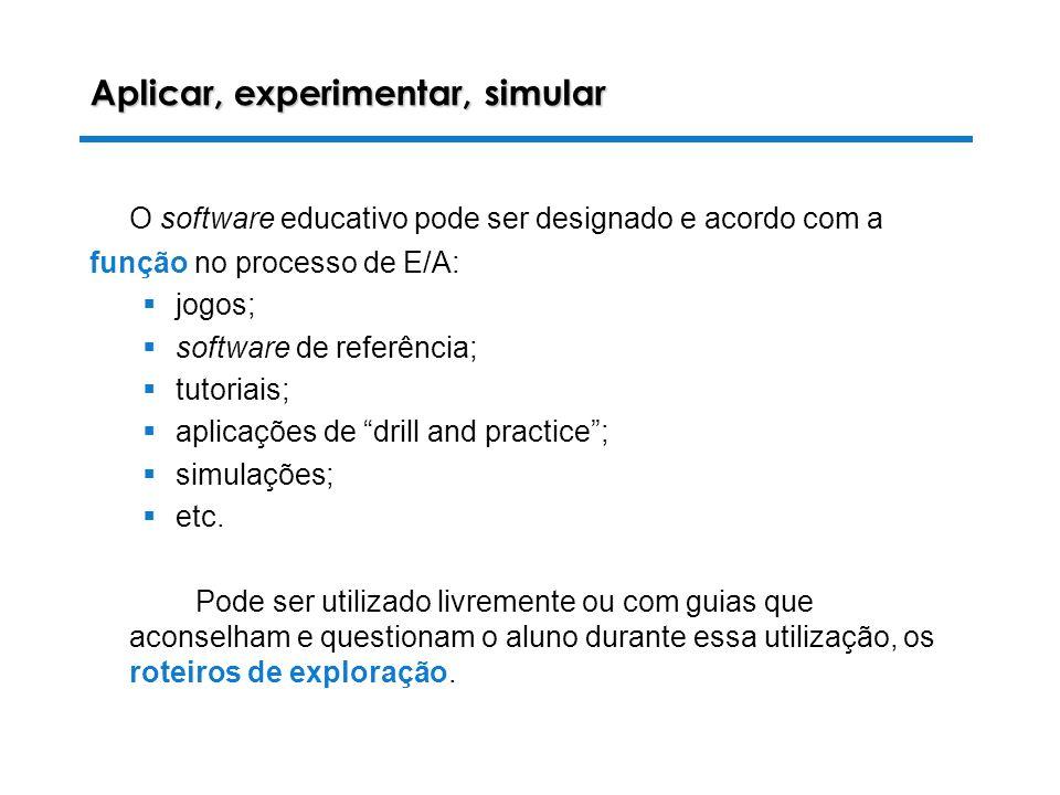 28-10-2003 Luiza Alves da Costa Aplicar, experimentar, simular O software educativo pode ser designado e acordo com a função no processo de E/A: jogos; software de referência; tutoriais; aplicações de drill and practice; simulações; etc.