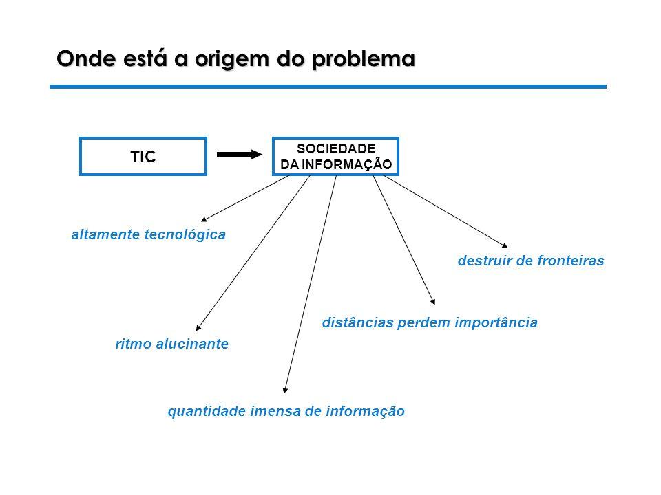 28-10-2003 Luiza Alves da Costa SOCIEDADE DA INFORMAÇÃO TIC Onde está a origem do problema quantidade imensa de informação destruir de fronteiras ritmo alucinante distâncias perdem importância altamente tecnológica
