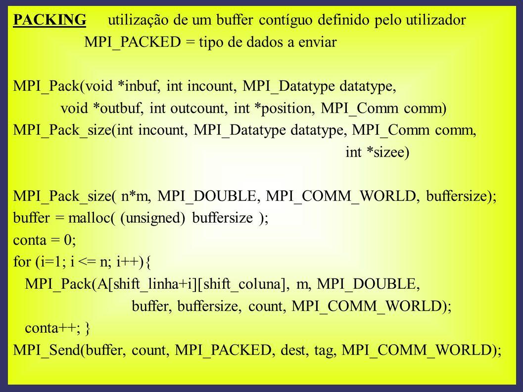 PACKING utilização de um buffer contíguo definido pelo utilizador MPI_PACKED = tipo de dados a enviar MPI_Pack(void *inbuf, int incount, MPI_Datatype