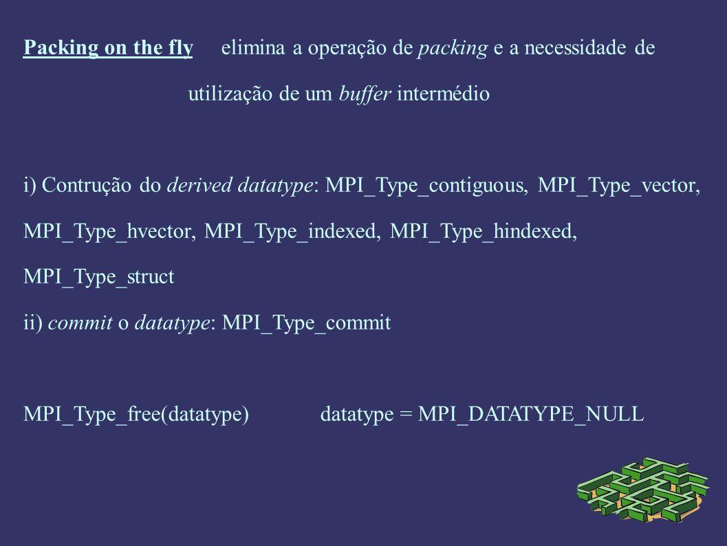 Packing on the fly elimina a operação de packing e a necessidade de utilização de um buffer intermédio i) Contrução do derived datatype: MPI_Type_cont