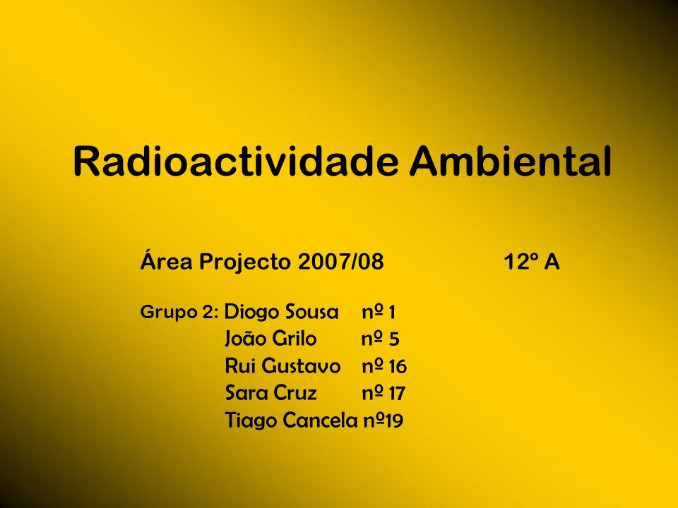 Radioactividade Ambiental Área Projecto 2007/08 12º A Grupo 2: Diogo Sousa nº 1 João Grilo nº 5 Rui Gustavo nº 16 Sara Cruz nº 17 Tiago Cancela nº19