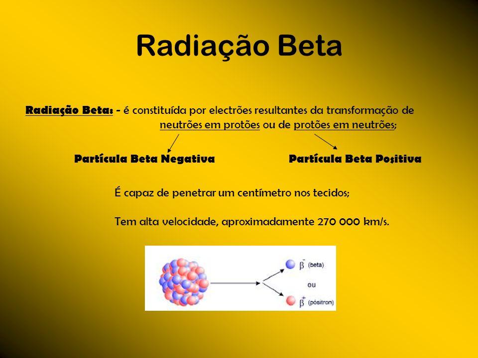 Radiação Beta Radiação Beta: - é constituída por electrões resultantes da transformação de neutrões em protões ou de protões em neutrões; Partícula Be