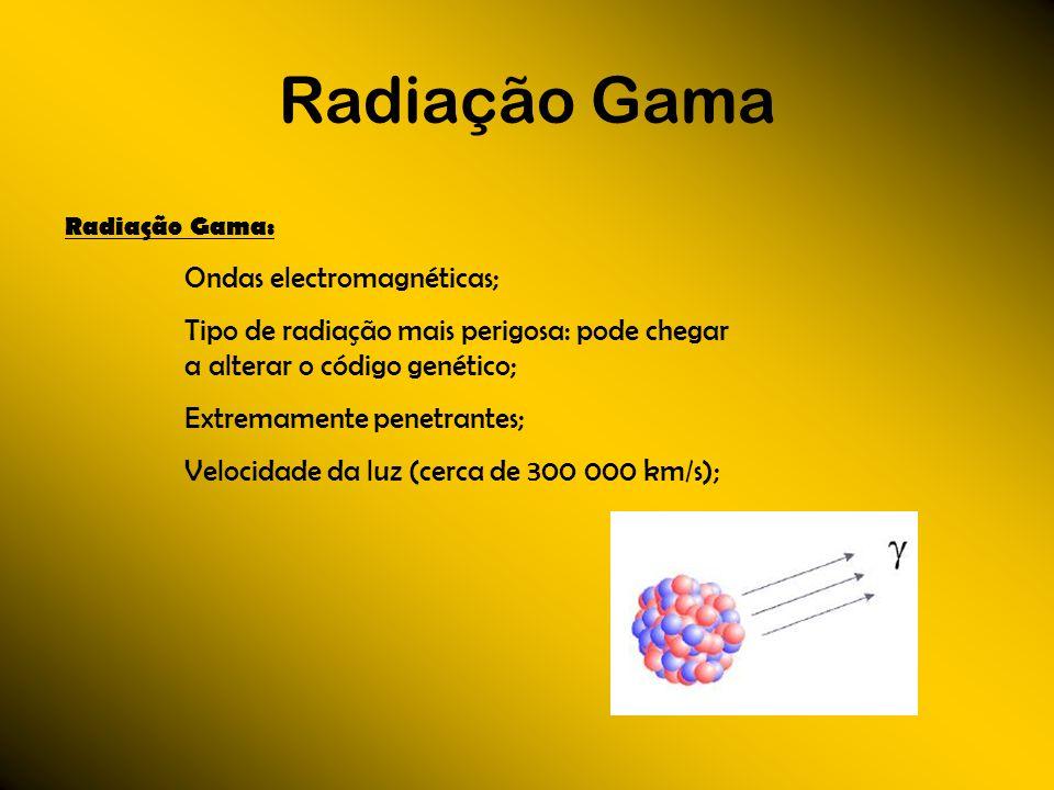 Radiação Gama Radiação Gama: Ondas electromagnéticas; Tipo de radiação mais perigosa: pode chegar a alterar o código genético; Extremamente penetrante