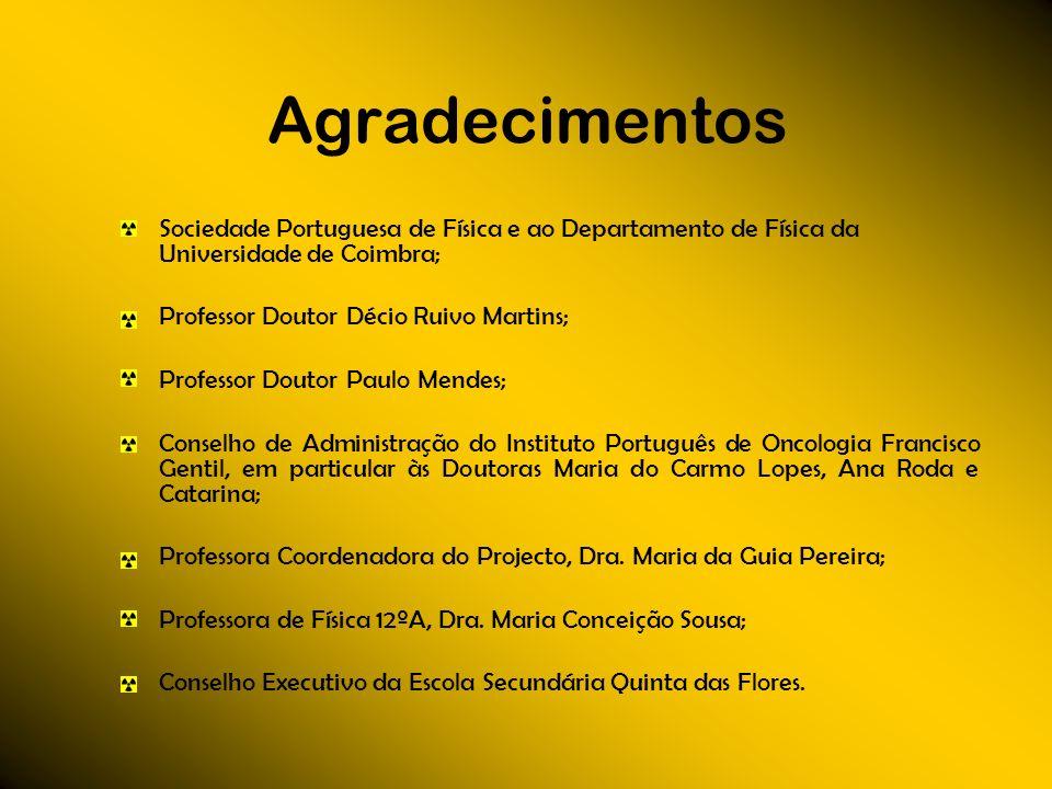 Agradecimentos Sociedade Portuguesa de Física e ao Departamento de Física da Universidade de Coimbra; Professor Doutor Décio Ruivo Martins; Professor