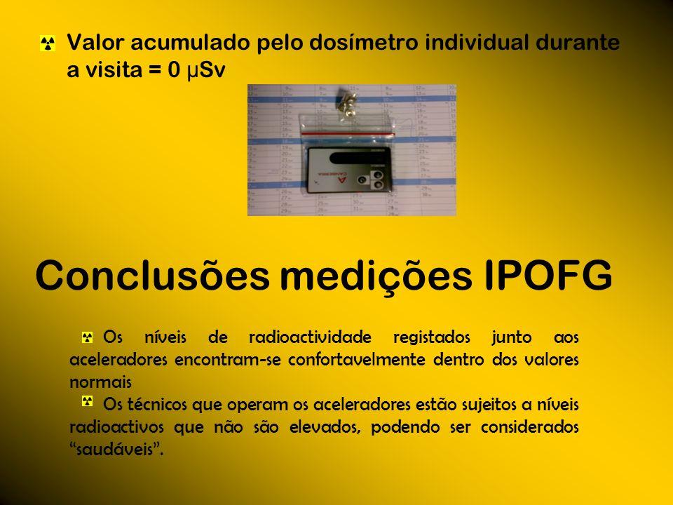 Valor acumulado pelo dosímetro individual durante a visita = 0 μ Sv Conclusões medições IPOFG Os níveis de radioactividade registados junto aos aceler