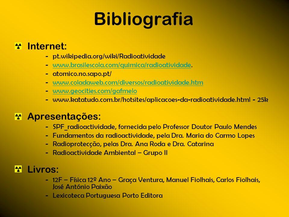 Bibliografia Internet: pt.wikipedia.org/wiki/Radioatividade www.brasilescola.com/quimica/radioatividade.www.brasilescola.com/quimica/radioatividade at