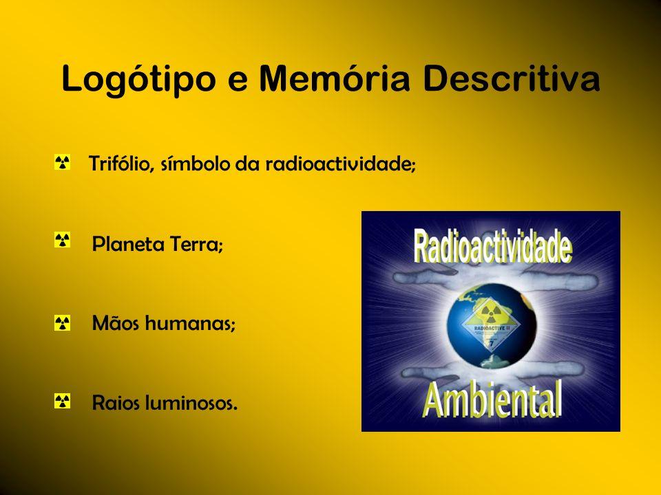 Logótipo e Memória Descritiva Trifólio, símbolo da radioactividade; Planeta Terra; Mãos humanas; Raios luminosos.