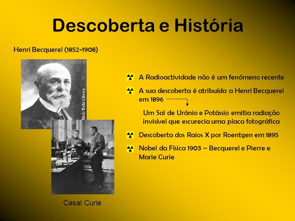 Descoberta e História Henri Becquerel (1852-1908) Casal Curie A Radioactividade não é um fenómeno recente A sua descoberta é atribuída a Henri Becquer
