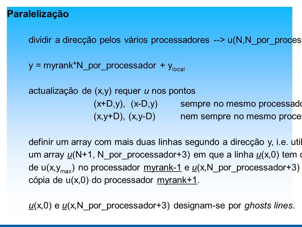 Paralelização dividir a direcção pelos vários processadores --> u(N,N_por_processador) y = myrank*N_por_processador + y local actualização de (x,y) requer u nos pontos (x+D,y), (x-D,y)sempre no mesmo processador (x,y+D), (x,y-D) nem sempre no mesmo processador definir um array com mais duas linhas segundo a direcção y, i.e.