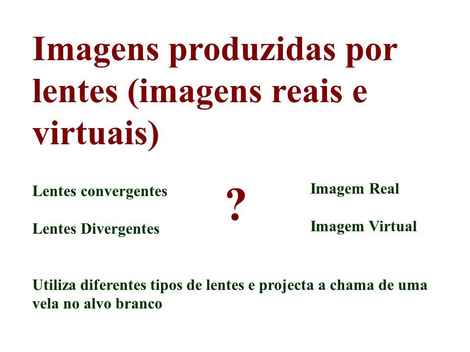 Imagens produzidas por lentes (imagens reais e virtuais) Lentes convergentes Lentes Divergentes Utiliza diferentes tipos de lentes e projecta a chama
