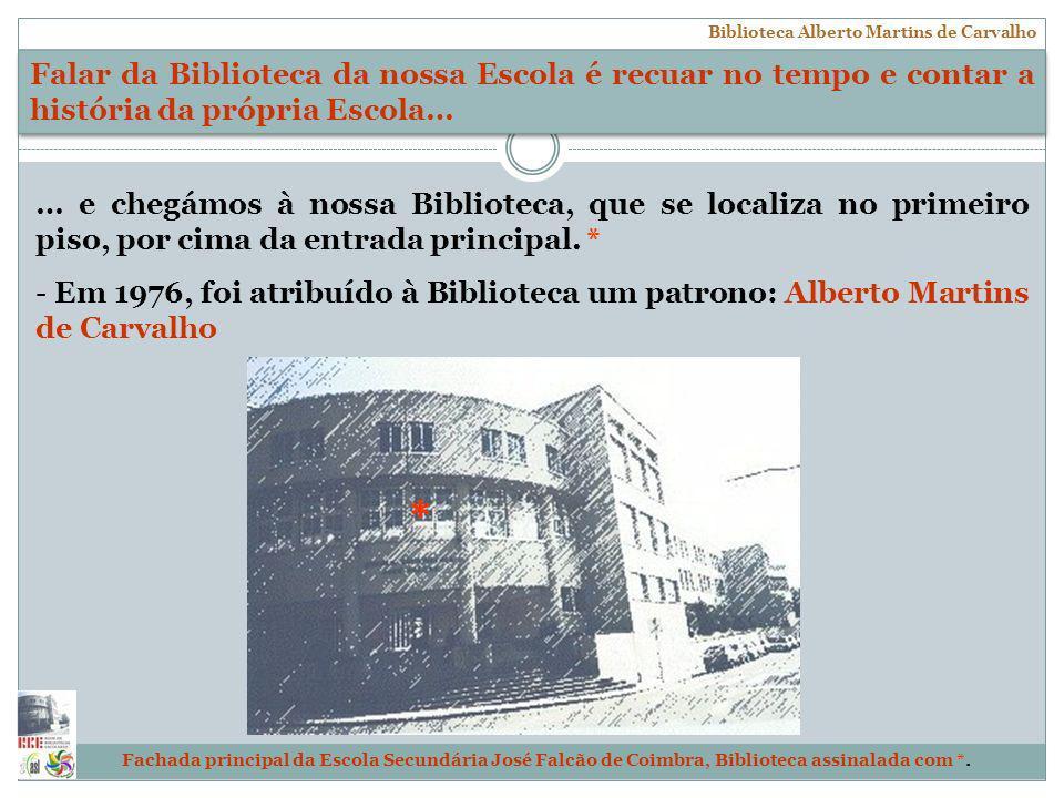 Escola Secundária José Falcão, Coimbra Biblioteca Alberto Martins de Carvalho … e chegámos à nossa Biblioteca, que se localiza no primeiro piso, por c