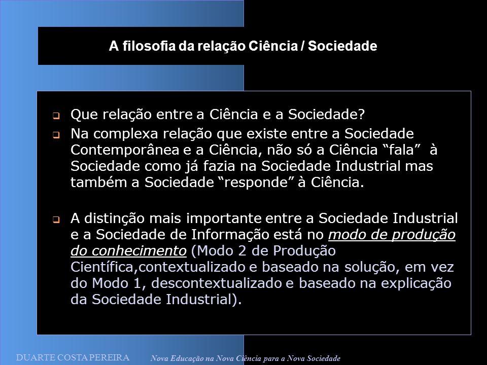 DUARTE COSTA PEREIRA Nova Educação na Nova Ciência para a Nova Sociedade A filosofia da relação Ciência / Sociedade Que relação entre a Ciência e a Sociedade.