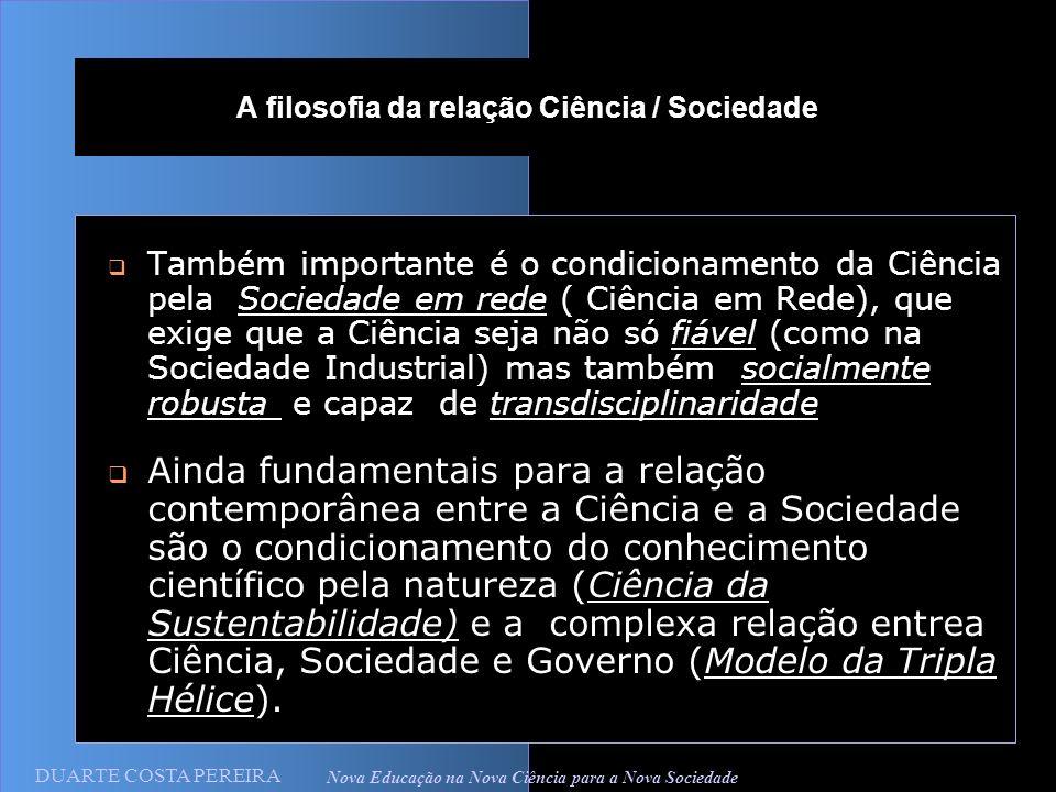 A filosofia da relação Ciência / Sociedade Também importante é o condicionamento da Ciência pela Sociedade em rede ( Ciência em Rede), que exige que a Ciência seja não só fiável (como na Sociedade Industrial) mas também socialmente robusta e capaz de transdisciplinaridade Ainda fundamentais para a relação contemporânea entre a Ciência e a Sociedade são o condicionamento do conhecimento científico pela natureza (Ciência da Sustentabilidade) e a complexa relação entrea Ciência, Sociedade e Governo (Modelo da Tripla Hélice).