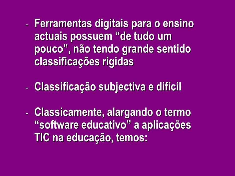 - Ferramentas digitais para o ensino actuais possuem de tudo um pouco, não tendo grande sentido classificações rígidas - Classificação subjectiva e di