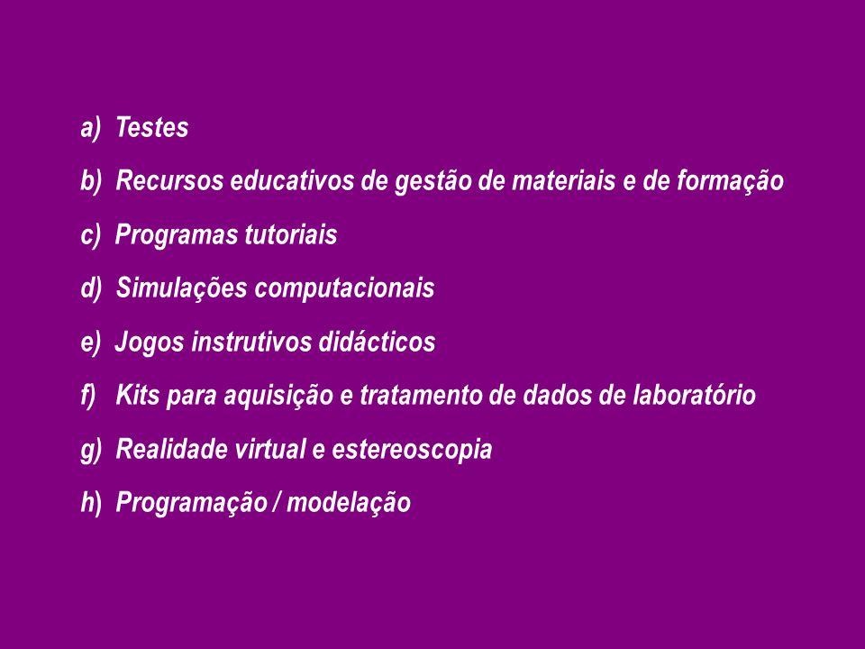 a) Testes b) Recursos educativos de gestão de materiais e de formação c) Programas tutoriais d) Simulações computacionais e) Jogos instrutivos didácti