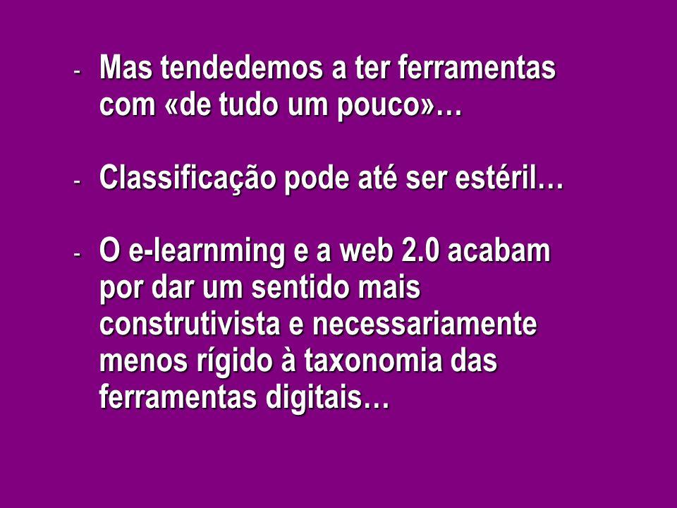 - Mas tendedemos a ter ferramentas com «de tudo um pouco»… - Classificação pode até ser estéril… - O e-learnming e a web 2.0 acabam por dar um sentido