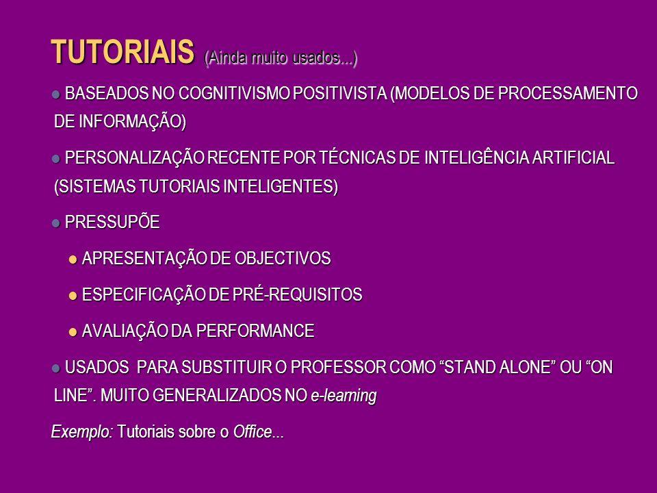 Centrados no aprendiz BASEADOS NO CONSTRUTIVISMO PESSOAL FOCAGEM NOS PROCESSOS COGNITIVOS DO APRENDIZ NECESSIDADE DE IMERSÃO NO TÓPICO NECESSIDADE DE MOTIVAÇÃO PARA PROCURAR INFORMAÇÃO E APTIDÕES E RESOLVER PROBLEMAS VISÃO DA APRENDIZAGEM COMO EXPLORAÇÃO ACTIVA E CONSTRUÇÃO PESSOAL – PRÓ-ACTIVIDADE APLICAÇÃO AO DOMÍNIO EDUCACIONAL DA DISCIPLINA DE HCI (HUMAN COMPUTER INTERACTION) UTILIZAÇÃO DO CONCEITO DE MICRO-MUNDO (VINDO DA IA).