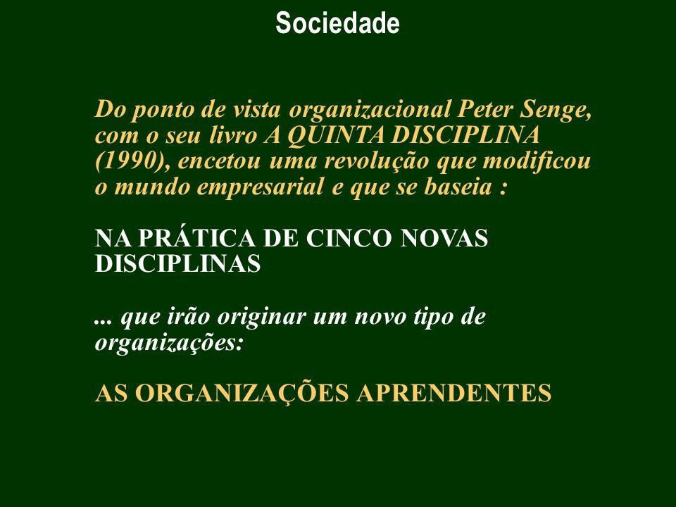 Sociedade Do ponto de vista organizacional Peter Senge, com o seu livro A QUINTA DISCIPLINA (1990), encetou uma revolução que modificou o mundo empres