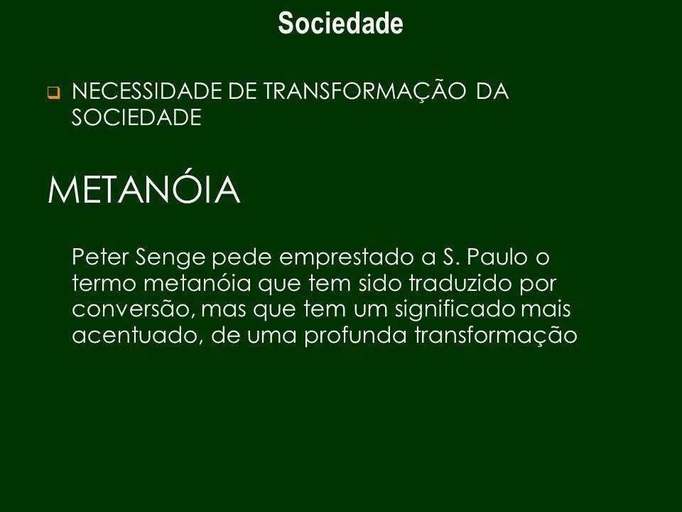 Sociedade NECESSIDADE DE TRANSFORMAÇÃO DA SOCIEDADE METANÓIA Peter Senge pede emprestado a S. Paulo o termo metanóia que tem sido traduzido por conver
