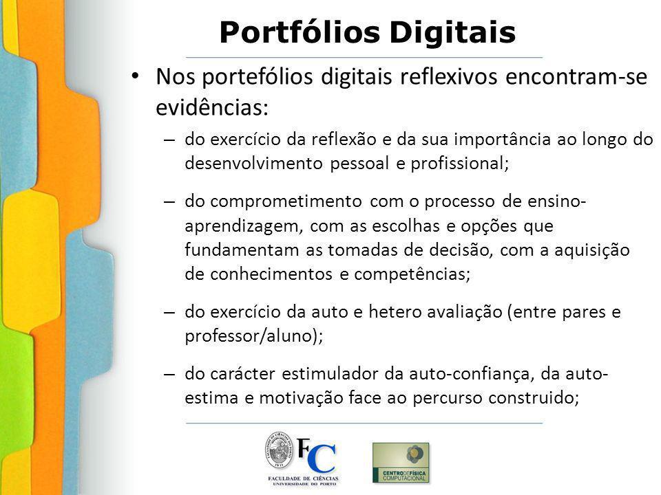 Nos portefólios digitais reflexivos encontram-se evidências: – do exercício da reflexão e da sua importância ao longo do desenvolvimento pessoal e pro
