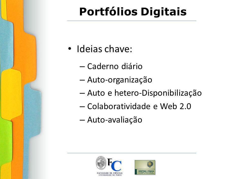 Ideias chave: – Caderno diário – Auto-organização – Auto e hetero-Disponibilização – Colaboratividade e Web 2.0 – Auto-avaliação