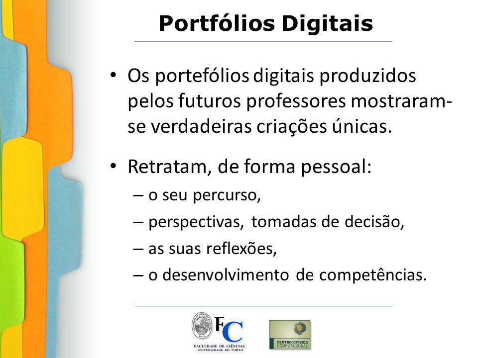 Portfólios Digitais Os portefólios digitais produzidos pelos futuros professores mostraram- se verdadeiras criações únicas. Retratam, de forma pessoal