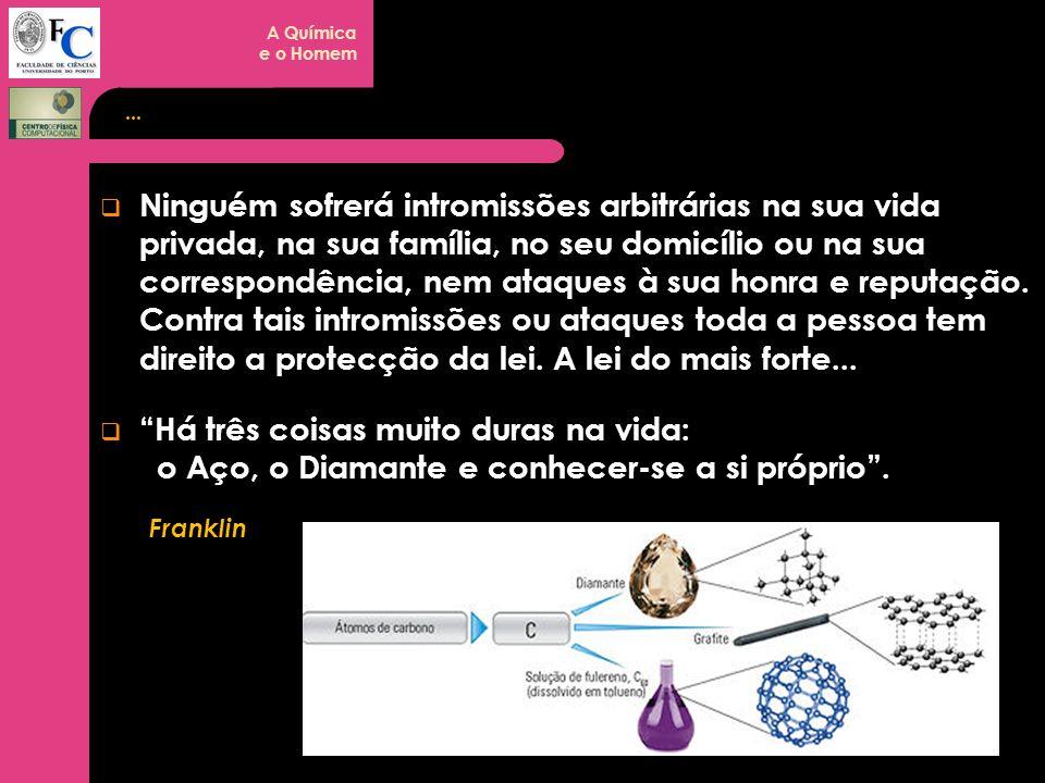 A Química e o Homem... Ninguém sofrerá intromissões arbitrárias na sua vida privada, na sua família, no seu domicílio ou na sua correspondência, nem a