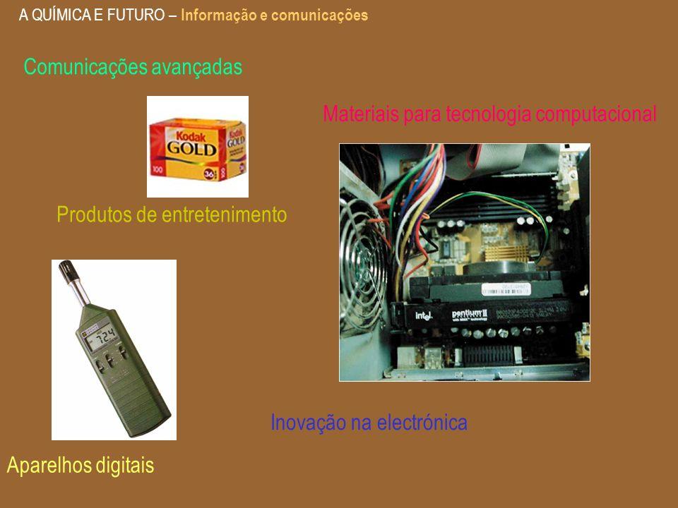 A QUÍMICA E FUTURO – Informação e comunicações Produtos de entretenimento Aparelhos digitais Materiais para tecnologia computacional Inovação na elect