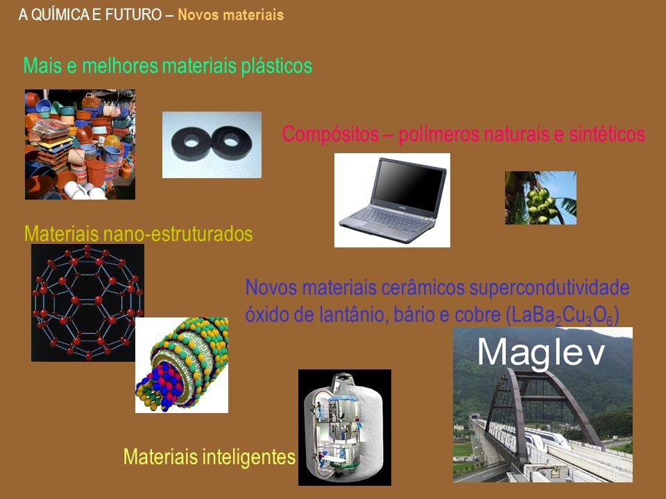 A QUÍMICA E FUTURO – Novos materiais Materiais nano-estruturados Materiais inteligentes Compósitos – polímeros naturais e sintéticos Novos materiais c