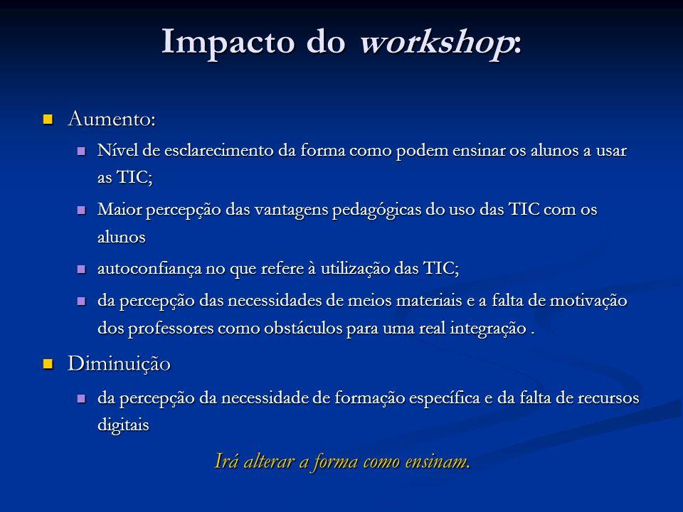 Impacto do workshop: Aumento: Aumento: Nível de esclarecimento da forma como podem ensinar os alunos a usar as TIC; Nível de esclarecimento da forma c