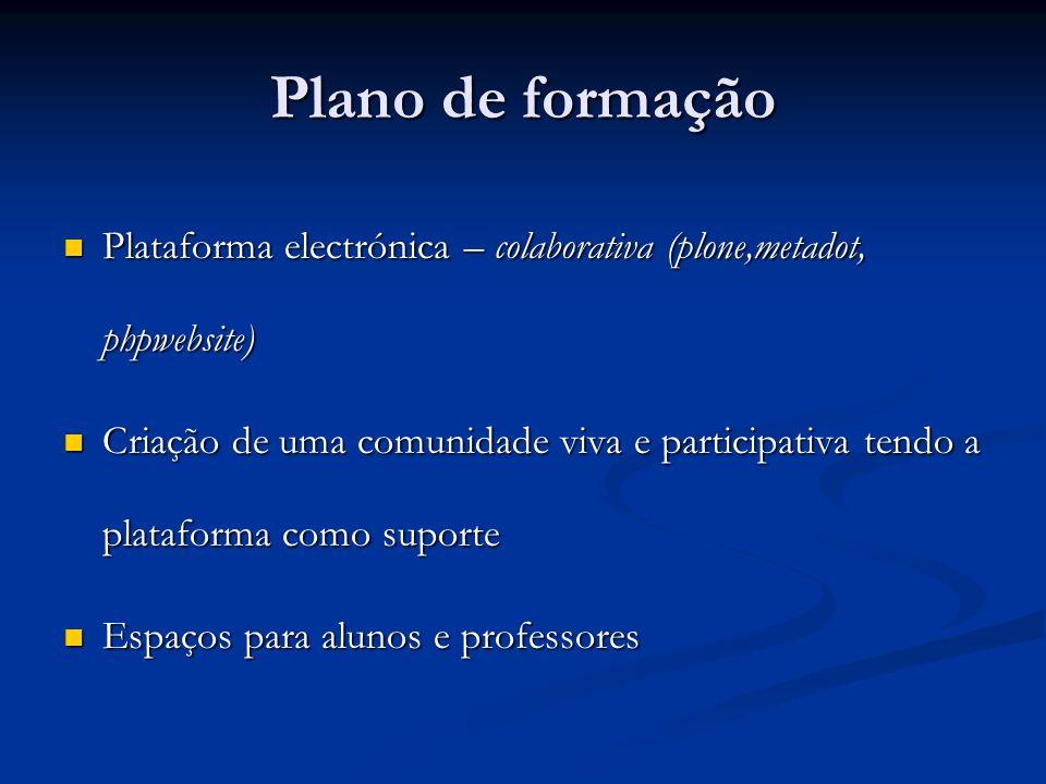 Plano de formação Plataforma electrónica – colaborativa (plone,metadot, phpwebsite) Plataforma electrónica – colaborativa (plone,metadot, phpwebsite)